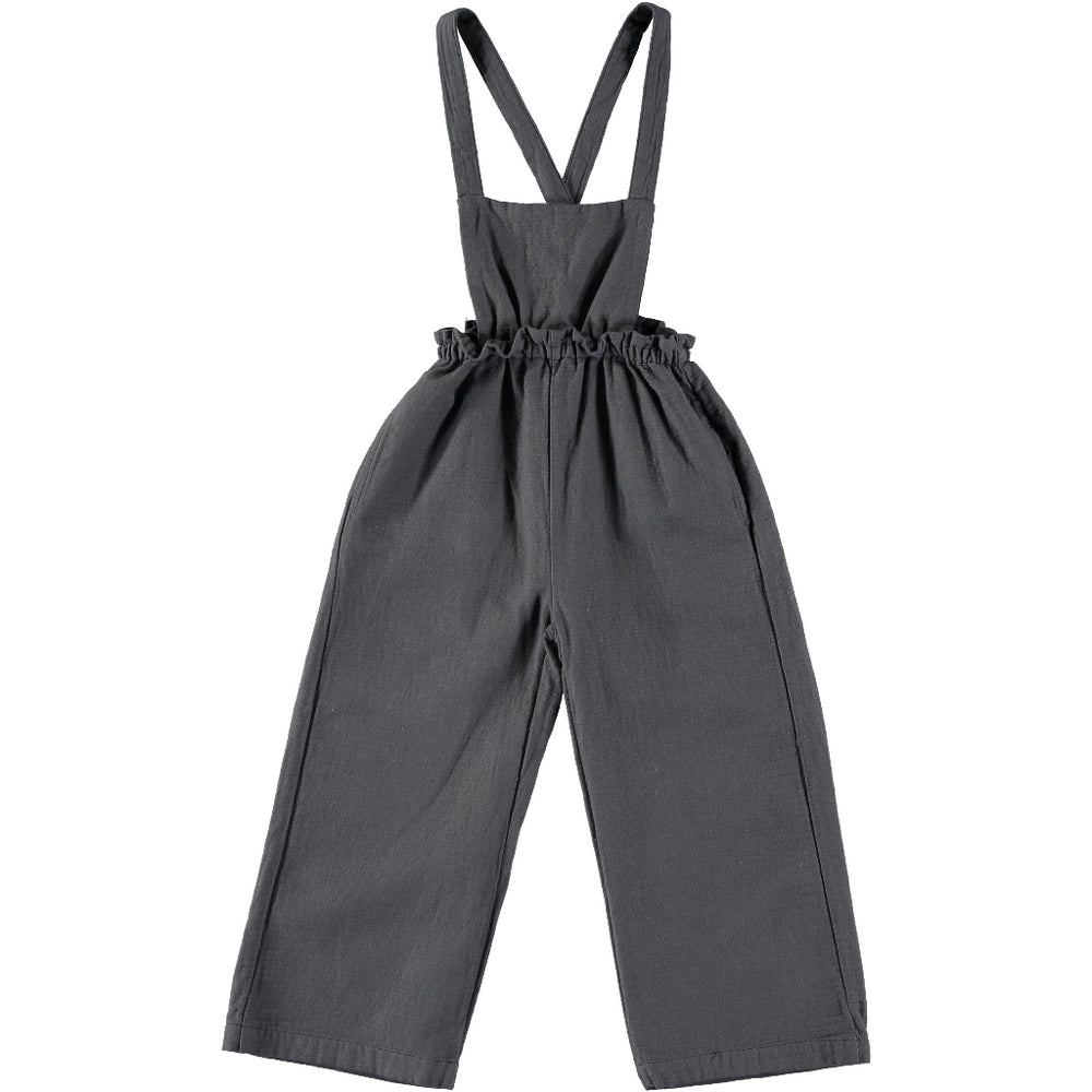 Olivia dungaree pant - Brand: Búho Colour: Nuit Details:  Square neckline, Straps with buttons, Cross back straps, Elastic waist Composition: 100% Cotton Made in: Spain