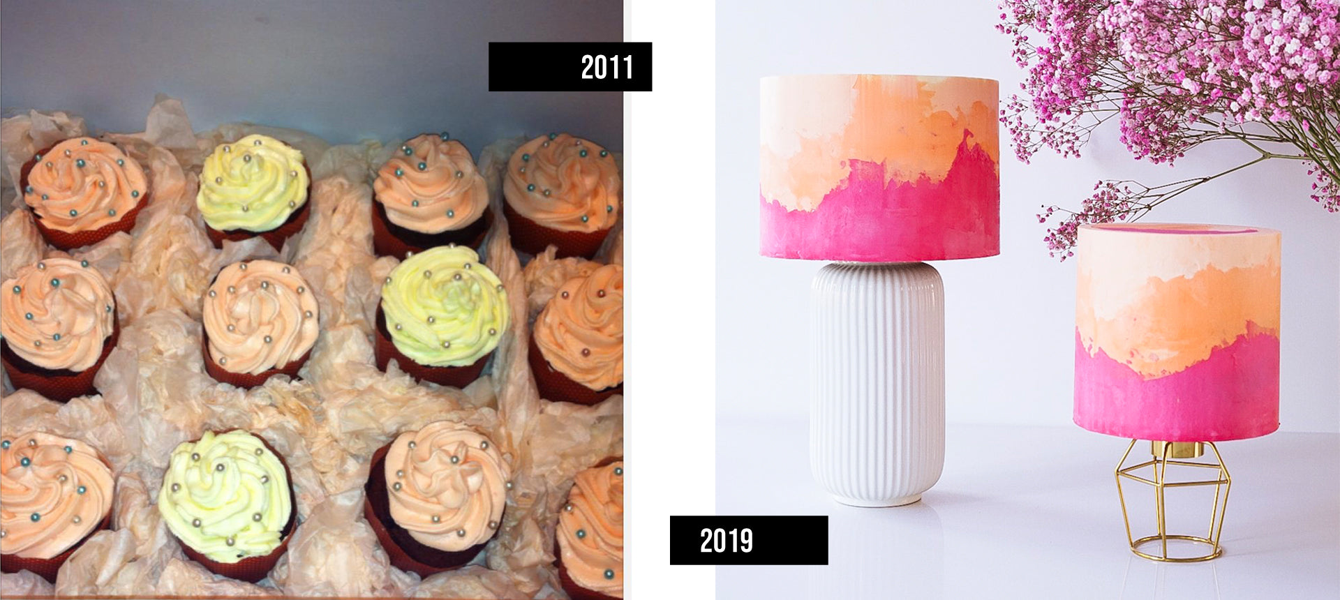 Red Velvet cupcakes in 2011 and DTC modern cake lamps in 2019