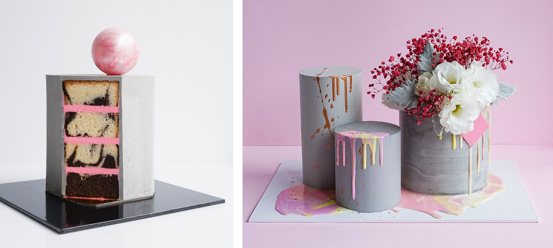modern concrete cakes by Don't Tell Charles