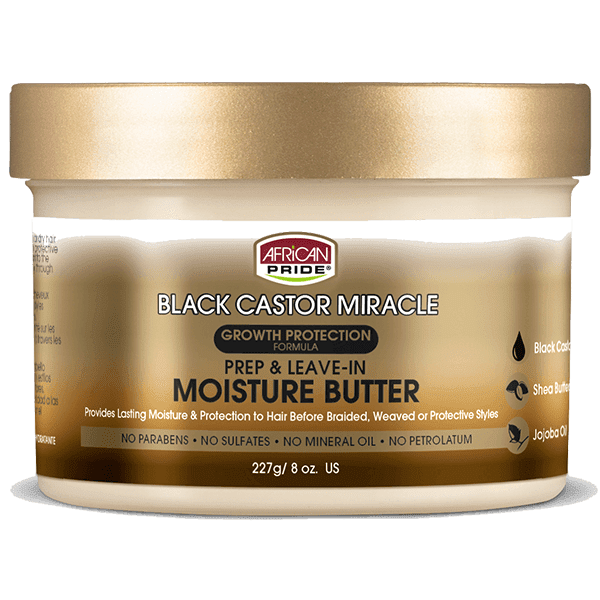 African Pride Black Castor Miracle Prep & Leave-In Moisture Butter 8oz