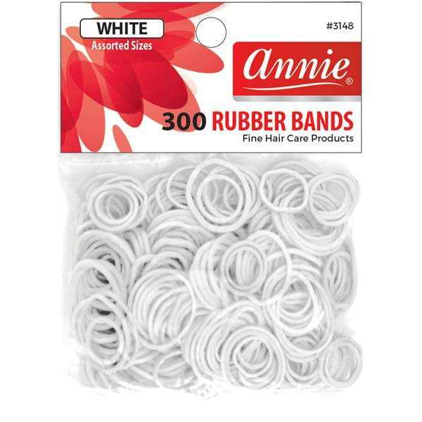 Annie 300 Rubber Bands #3148 Assorted Sizes White