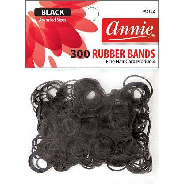 Annie 300 Rubber Bands #3152 Assorted Sizes Black