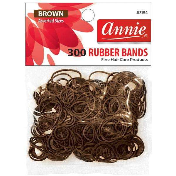 Annie 300 Rubber Bands #3154 Assorted Sizes Brown