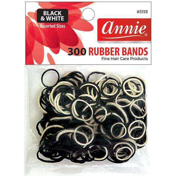 Annie 300 Rubber Bands #3155 Assorted Sizes Black & White