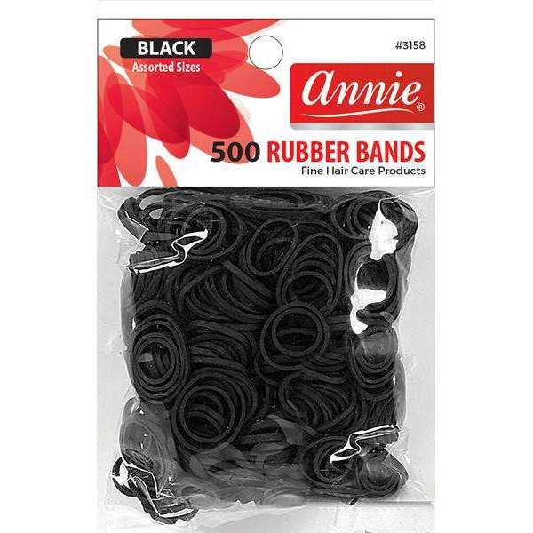 Annie 500 Rubber Bands #3158 Assorted Sizes Black