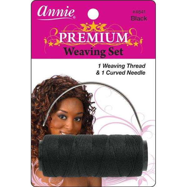 Annie Premium Weaving Set 1 Weaving Thread & 1 Curved Needle #4841 Black