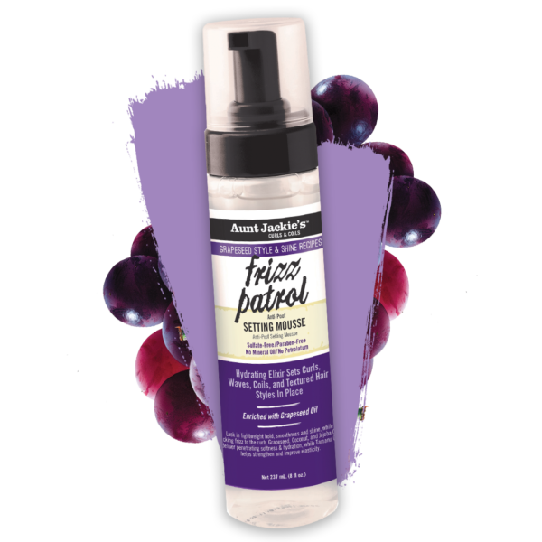 Aunt Jackie's Curls & Coils Grapeseed Style & Shine Recipes Frizz Patrol Anti-Poof Setting Mousse 8oz