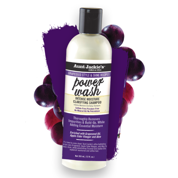 Aunt Jackie's Curls & Coils Grapeseed Style & Shine Recipes Power Wash Intense Moisture Clarifying Shampoo 12oz