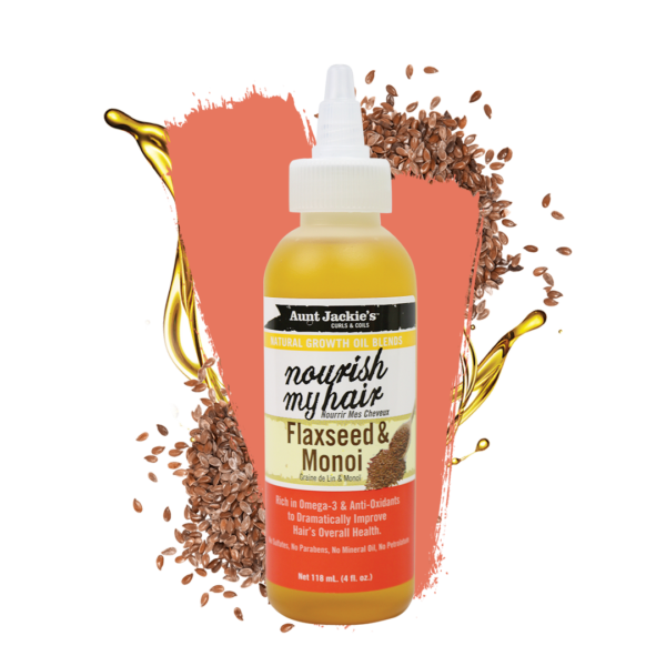 Aunt Jackie's Curls & Coils Natural Growth Oil Blends Nourish My Hair Flaxseed & Monoi 4oz