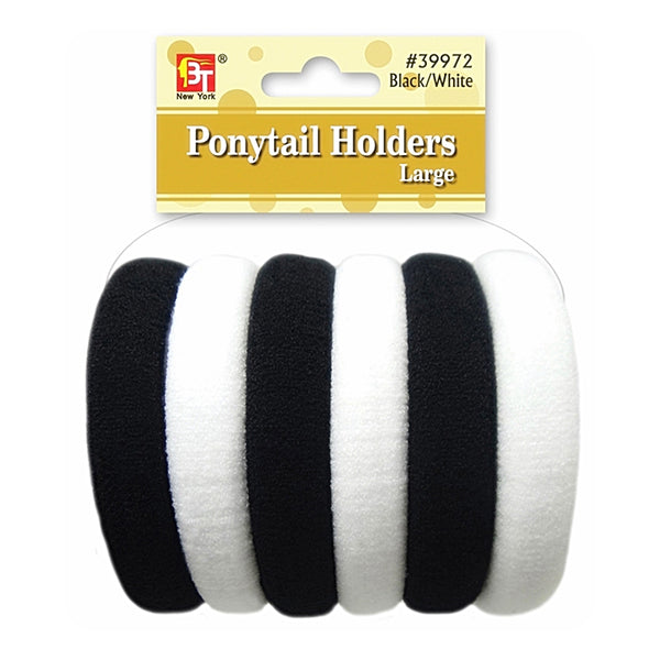 Beauty Town Ponytail Holders Large Black/White #39972