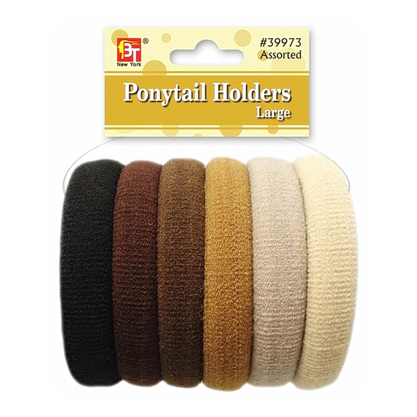 Beauty Town Ponytail Holders Large Brown Assorted #39973