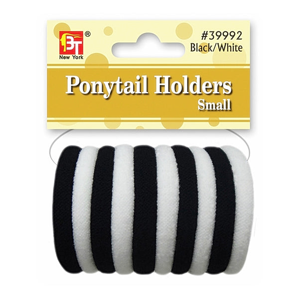 Beauty Town Ponytail Holders Small Black/White #39992