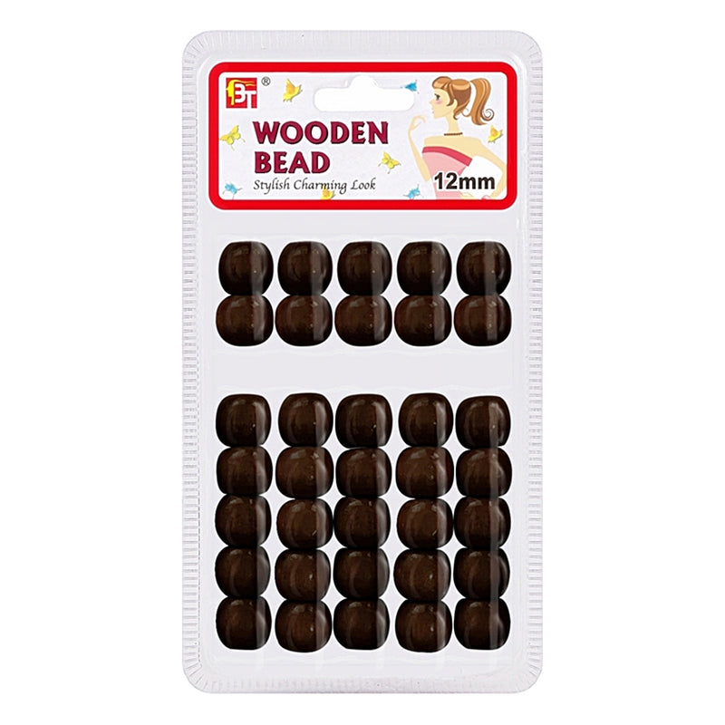Beauty Town Wooden Bead 12mm Dark Brown