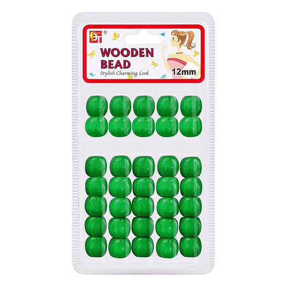Beauty Town Wooden Bead 12mm Green #07548