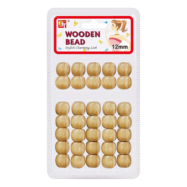 Beauty Town Wooden Bead 12mm Beige #07543