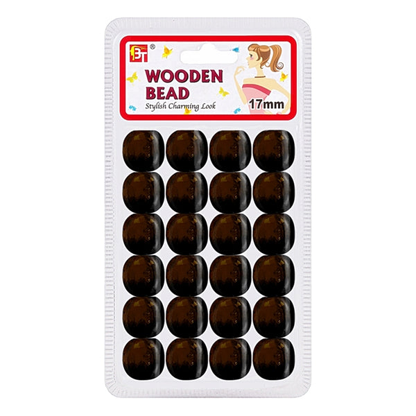 Beauty Town Wooden Bead 17mm Dark Brown #07565