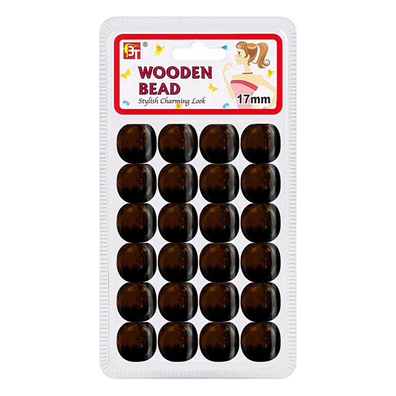 Beauty Town Wooden Bead 17mm Dark Brown