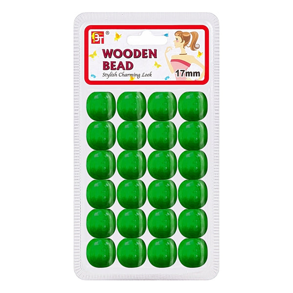 Beauty Town Wooden Bead 17mm Green #07568