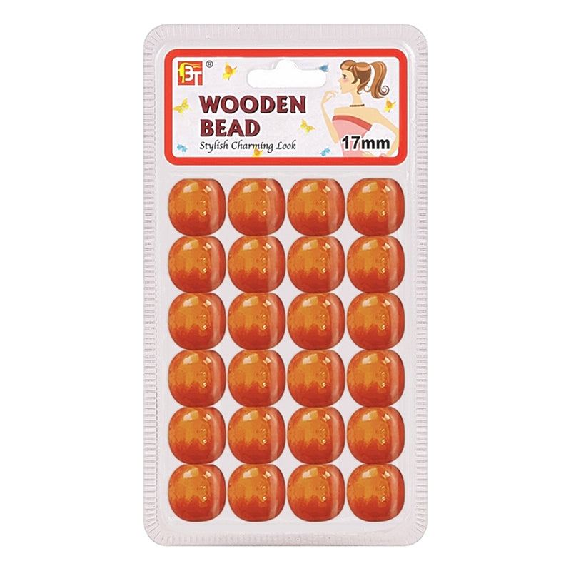 Beauty Town Wooden Bead 17mm Orange