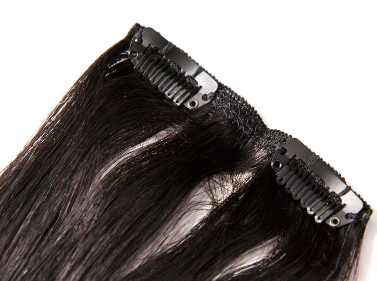 Black Diamond 7pcs Human Hair Clip-In Extensions Straight
