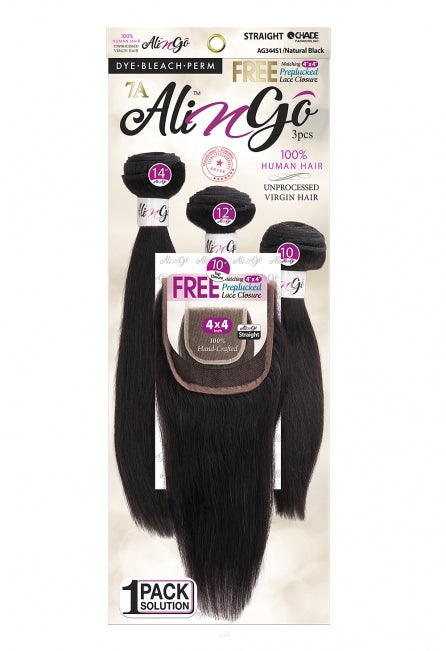 "Chade Ali N Go Unprocessed 7A Virgin Brazilian Human Hair 3Pcs + 4""X4"" Closure Straight"