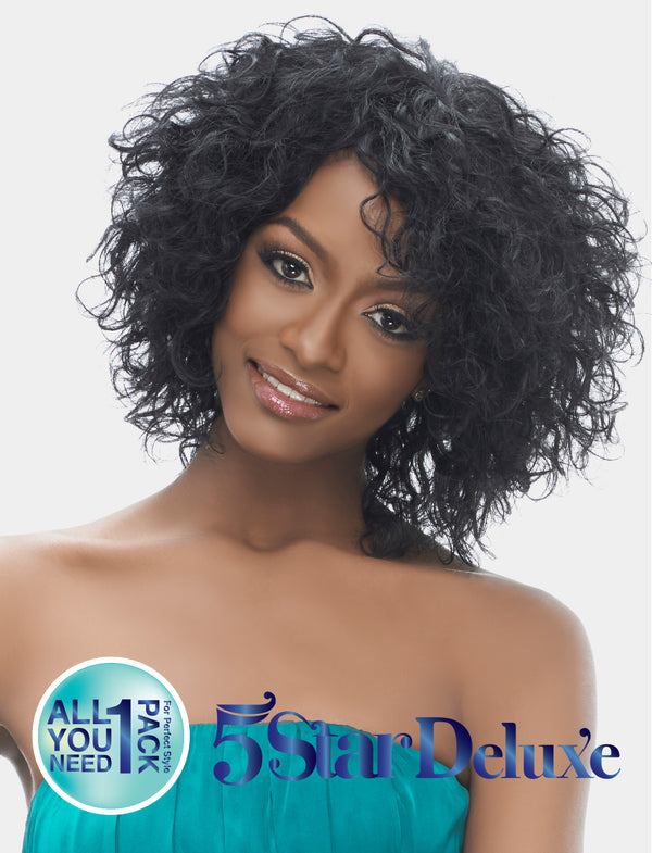 "Harlem 125 5 Star Deluxe 8"" Short Cut Indian Remi Wet & Wavy 100% Human Hair Weave Brazilian Curl"