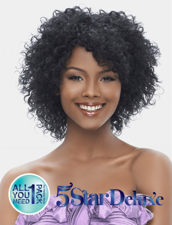 "Harlem 125 5 Star Deluxe 8"" Short Cut Indian Remi Wet & Wavy 100% Human Hair Peruvian Curl"