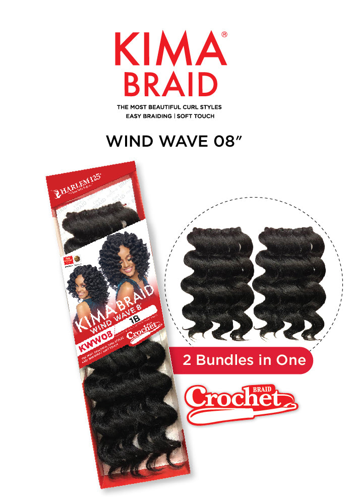 Harlem 125 Kima Braid Synthetic Hair Crochet Wind Wave 8""