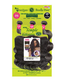 "Janet Collection Brazilian Bundle Body Wave 3Pcs 100% Natural Virgin Remy Human Hair + 13""X4"" Temple Lace Frontal Closure"