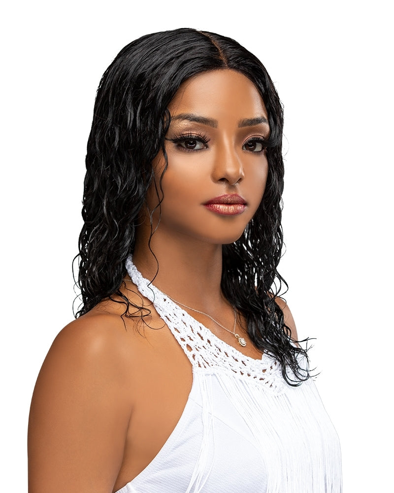 Laflare Fiti Wet & Wavy 100% Brazilian Remy Human Hair Lace Front Wig Loose Deep 18""