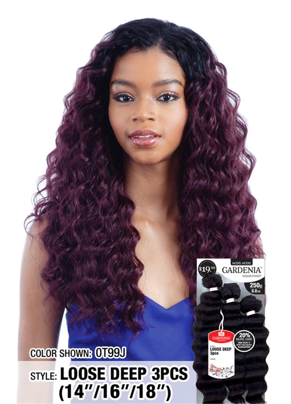 "Model Model Gardenia Mastermix Weave Loose Deep 3Pcs 14"" 16"" 18"""