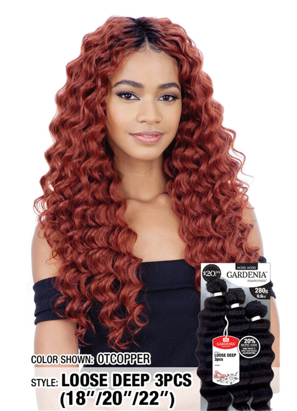 "Model Model Gardenia Mastermix Weave Loose Deep 3Pcs 18"" 20"" 22"""