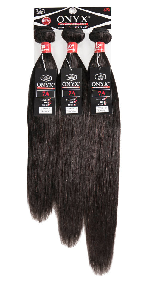 Onyx 7A Virgin Brazilian Remi Human Hair 3 Pack Bundles Straight