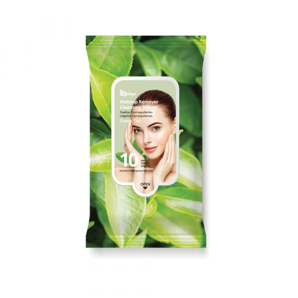 Saplaya Green Tea Makeup Remover Cleansing Tissues 10 Sheets