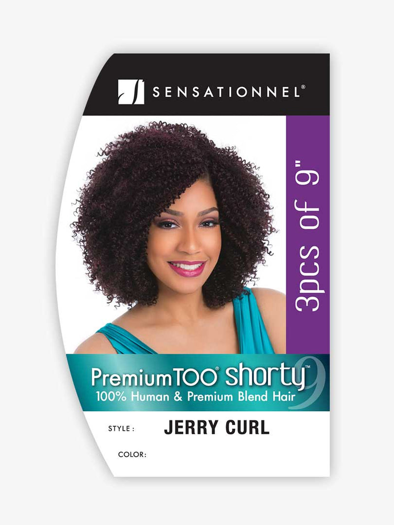 Sensationnel Premium Too Shorty Human Hair Blend Weave Jerry Curl Wvg 9""