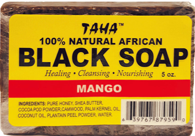 Taha 100% Natural African Black Soap Mango 5oz