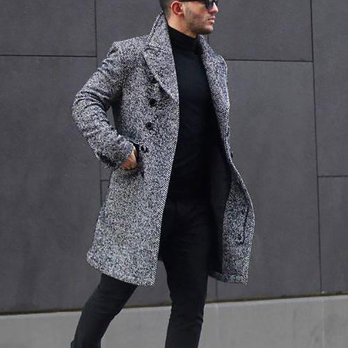 Fashion Mens Lapel Plain Thicken Business Woolen Long Coat