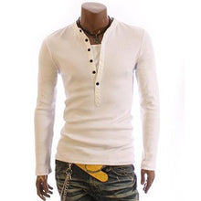 Load image into Gallery viewer, Casual Mens V Collar Plain Slim Fit Shirt