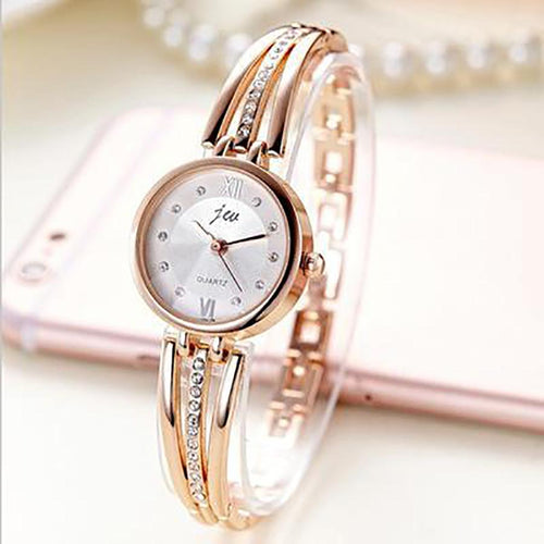 Luxury Rhinestone Stainless Steel Bracelet Watches Woman's Watch