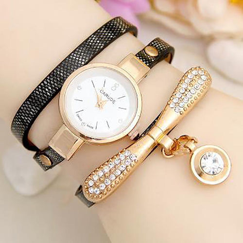 Fashion Pu Leather Ladies Quartz Casual Wristwatch Woman's Watch