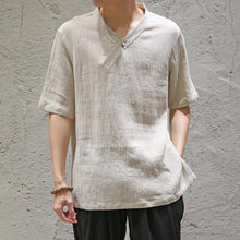 Load image into Gallery viewer, Casual Men's Loose Plain Cotton And Linen Shirt