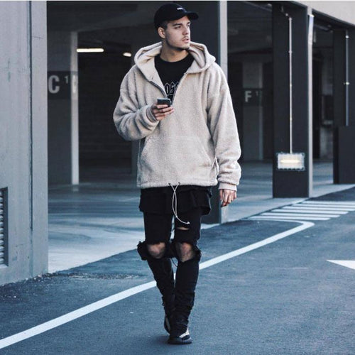 Mens Fashion Floss Plain Zipper Thick Loose Coat