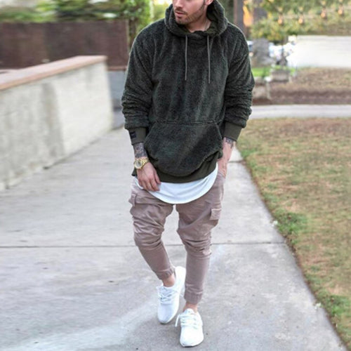 Casual Plain Loose Floss Hoodie With Hat