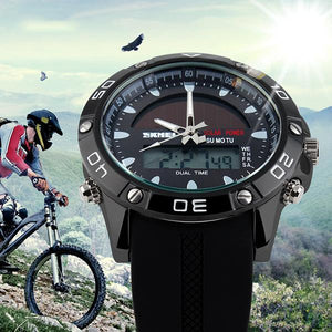 Fashion Mens Solar Dual Movement Waterproof  Watch Sport Watch