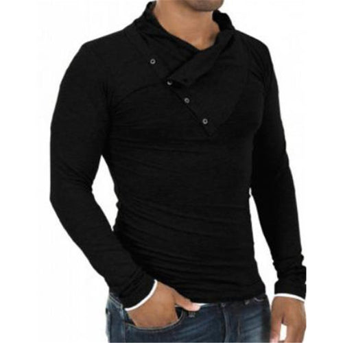 Fashion Mens Casual Sport Slim Plain Button Collar Long Sleeve Sweatshirts