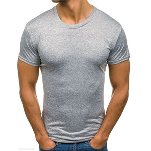Casual Mens Round Collar Plain Slim Fit Shirt