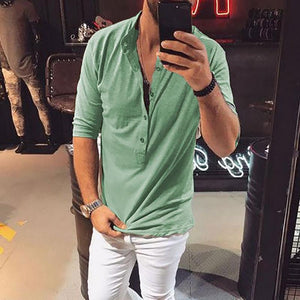 Casual Mens Cotton/Linen V Neck T-Shirt