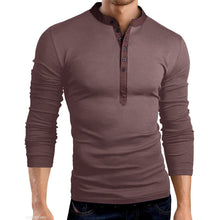 Load image into Gallery viewer, Fashion Mens Round Collar Plain Slim Fit Shirt
