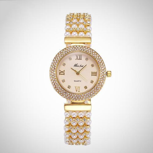Fashion Pearl  Rome Number Quartz  Women's Watch