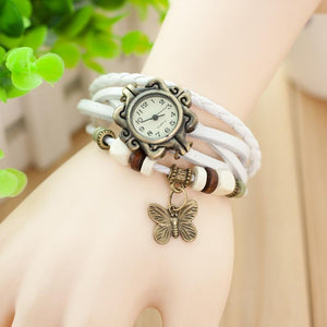 Fashion Leather Butterfly Pendant Wrist Watch Woman's Watch